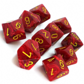 Red & Yellow Vortex D10 Ten Sided Dice Set